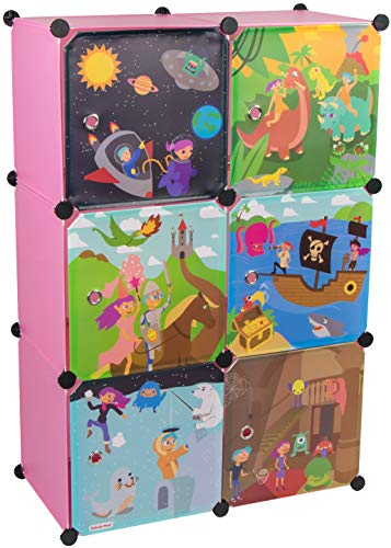 KEKSKRONE Großer Kinderschrank Bunte Motiv-Türen - DIY Stecksystem - 6 Module je 37 x 37 x 37 cm, Rosa | Kinderzimmer-Schrank | Kinderkleiderschrank | Baby-Regal | Spielzeugkommode