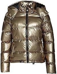Frauen Glänzend Metallisch Winterjacke mit Kapuze Padded Wattierte Damen Jacke