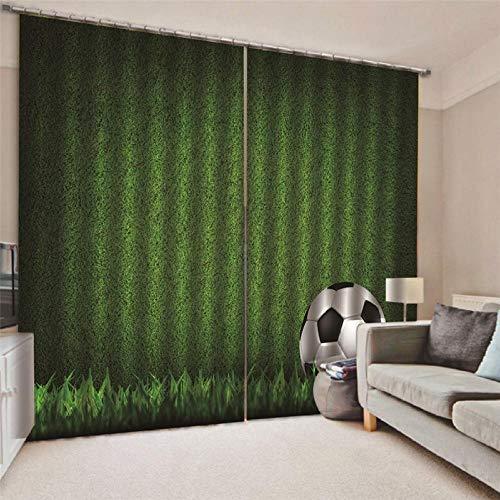 Jrcurtain campo da calcio, calcio 3d tenda termica isolante oscurante con 2 pannelli,per soggiorno cameretta decorazione,150x166cm