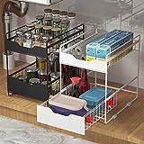 Yagviz Stackable 2 Tier Cabinet Organizer With Sliding Storage Drawer Under Sink, Countertop Pull Out Organizer Drawer Spice