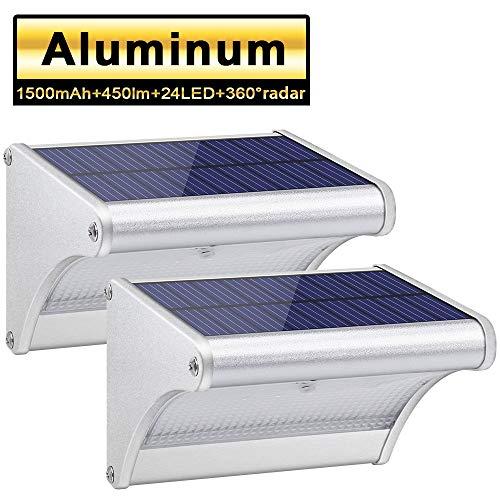 Licwshi 450 Lumens Solarleuchten 24 LED mit Aluminiumlegierungsgehäuse, Wasserdichtkeit im Freien, Radar-Bewegungsinduktion, es ist geeignet für Laubengang, Garten, Hof, Garage(2019 Version 2 Packung)