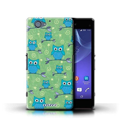 Kobalt® Imprimé Etui / Coque pour Sony Xperia A2 / Vert/Blanc conception / Série Motif Hibou Bleu/Vert