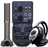 Zoom U44 mobiles USB Audio-Interface + SSH-6 Stereo Richtrohr Mikrofon-Kapsel + KEEPDRUM Kopfhörer