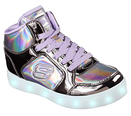 Skechers Girls' Energy Lights-shiny Brights Hi-top Trainers, Multicolour (Gun Metalpurple Gupr), 5 (38 Eu)
