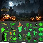XIN QI Halloween Kids Temporary Tattoo Stickers 24 Sheets,Luminous Tattoos Funny Ghost Pumpkin Branches Spider Wound Scar Bat Dance Party Decoration