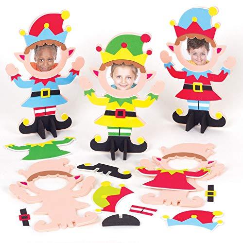 Baker Ross AT113 Fotorahmen Weihnachtself zu Basteln (6 Stück) Bastelset für Kinder zu Weihnachten, Sortiert