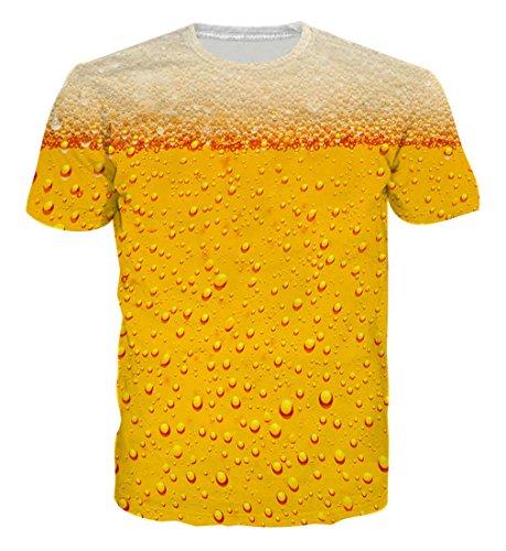 Goodstoworld T Shirt 3D Druck Herren Damen Golden Beer Print Sommer Lustige Beiläufige Kurzarm Partner T-Shirts T-Stücke S