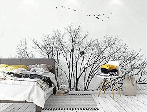 3D Wallpaper Nordic Wind Dry Baum Flying Birds Wallpaper Schwarz-Weiß-Stil Hintergrund Wand fototapete 3d Tapete effekt Vlies wandbild Schlafzimmer-200cm×140cm