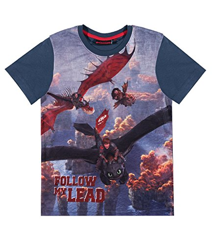 Marine-blau-kinder T-shirt (Dragons Jungen T-Shirt - marine blau - 128)