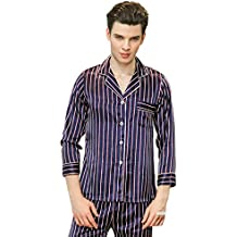 5174e6e060 WanYangg Schlafanzug Für Herren Streifen Satin Pyjama Set Nachtwäsche  Männer Lang Schlafanzüge Mit Knöpfen Hemd Stil