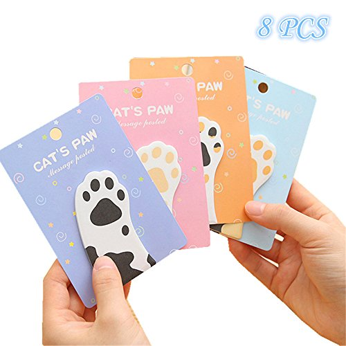 funnylive Meow Claw Pad selbstklebend Notizen Cartoon Cat 's Claw Post-it Nachrichten Post-it Notes; 30 Blatt/Pad; insgesamt 240 Seiten