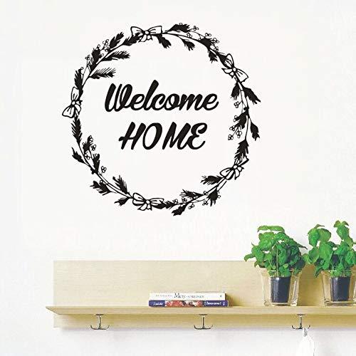 Willkommen zu Hause Zitat Wandtattoos Haus Innenarchitektur Wandaufkleber Neues Design Rustikalen Kranz Willkommen zu Hause Tür Vinyl Sticker58x59cm (Baby Willkommen Zu Mädchen Hause Dekorationen)
