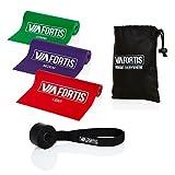 VIA FORTIS Premium Gymnastik-Band Set – 3 Fitnessbänder mit Türanker & Tasche – Extra Lange (2m) Übungsbänder für Yoga, Pilates, Reha-Sport, Physiotherapie und Mehr – Widerstandsbänder