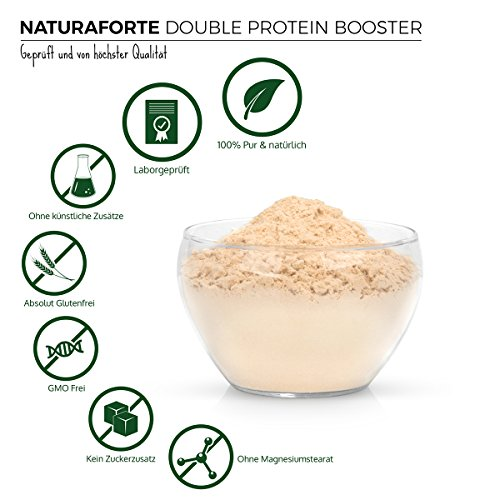 NaturaForte Double Protein Booster 1kg, Pure Brown Rice & Pea Protein Powder Neutral, 85% Protein for Protein Shake in Shaker, Good Soluble with Neutral Taste, High Quality Low-Carb Protein Powder without any additives, Vegan Protein, Gluten Free Lactose Free Cholesterol Free – Fitness-Line