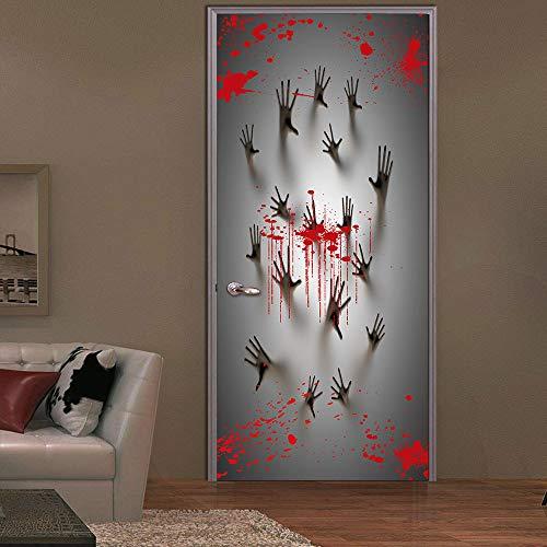 el Horror Halloween 3D Türaufkleber Wandbild Türtapete Abnehmbar Selbstklebend Wasserdicht PVC Türposter Tür Wohnzimmer Schlafzimmer Küche (Handabdruck) ()