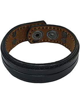 Armband Eleganz Herrenarmband Lederarmband aus echtes Leder Schwarz