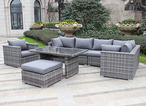 """Hohe Dinning Poly Rattan Lounge \""""Comfort XL\"""", inklusive Sessel und XL Hocker, mit wasserabweisenden Kissen, flexibel einsetzbar, Pure Home & Garden"""