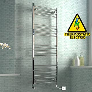 iBathUK 1600 x 600 mm Electric Curved Towel Rail Radiator Chrome Heated Ladder