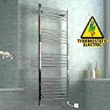 iBathUK 1600 x 600 mm Electric Curved Towel Rail Radiator Chrome Heated Ladder
