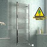 1600 x 600 mm Electric Curved Towel Rail Radiator Chrome Heated Ladder