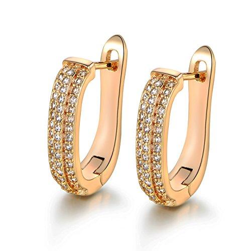 MASOP Gold-Ton Creole Reihe Weiß Kistall Prong Ohrringe Vergoldet Klar Zirkonia CZ (Zwei-ton-gold-schmuck)