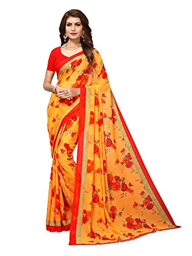 Mrinalika Fashion Women's Georgette Saree With Blouse Piece (Multi-Coloured_Free Size)