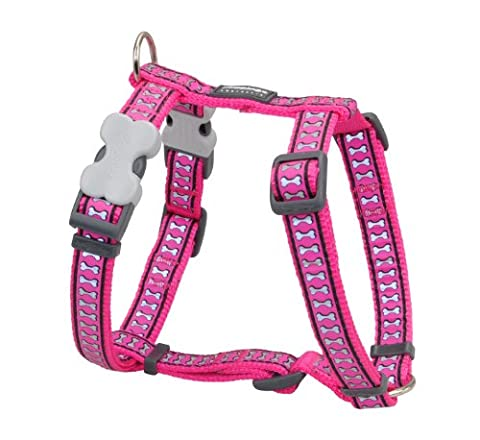 Red Dingo DH-RB-HP-LG Dog Harness Reflective Hot Pink, Large