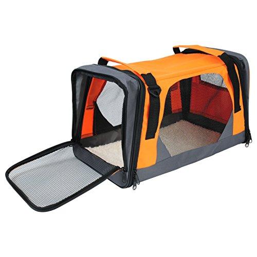 Woltu ht2073or trasportini pieghevoli per cane gatto cuccia gabbia borsa morbido per trasporto viaggio oxford resistente arancio 49x29x31cm