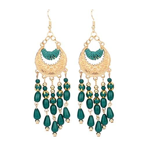 TIFIY Weinlese Vintage Retro Art lange Troddel Long Tassel Baumeln Bolzen Ohrring Bohemian Crescent Beads Tassel Dangle Earrings (grün)