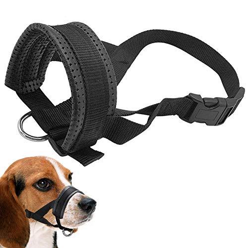 Hund Maulkorb Nylon Material Mit Einstellbar GrößE Und Flanell Schutz Weich Und Flexibel Durch Extra Weich Polsterung,Black,XL -