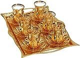 Türkisch Tee-Set für 6–Brille mit Messing Halterungen Deckel Untertassen Tablett Glas Löffel, 25PCs (Gold)