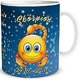 TRIOSK Tasse Smiley Sternzeichen Skorpion mit Spruch als lustiges Geschenk für Frauen und Männer zum Geburtstag