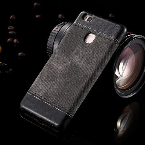 Case Cover Huawei P9 LITE, copertura posteriore di plastica dura di cuoio del cowboy Jeans Texture modello per Huawei P9 LITE ( Color : Brown , Size : Huawei P9 LITE ) Black