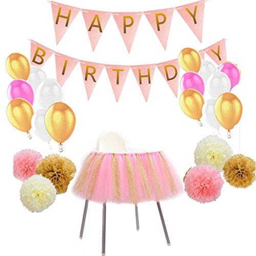 MagiDeal Papier Pom Poms Banner Latex Ballon Hochstuhl Tutu Tüll Rock Set, Seidenpapier PomPom Bunting Luftballons Tisch Röcke Dekoration für ()