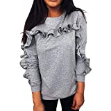 Sufeng Women Casual Solid O-Neck Ruffles Long Sleeve Blouse Pullover Tops Shirt