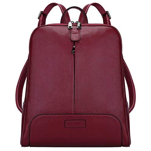 S-ZONE 14 Inch Laptop Frauen echtes Leder Rucksack Geldb?RSE Reisetasche (Damen Leder Notebook-rucksack)