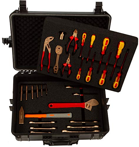 EAI0594 BC, unmagnetischer, funkenfreier ATEX-Werkzeugsatz u.a. für die Kältetechnik 29 Qualitätswerkzeuge mit antistatischen Einlagen und Koffer (funkenfrei)