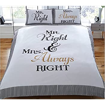 Mr Right And Mrs Always Right Duvet Set Double Amazon