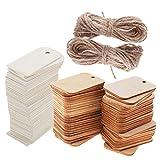 MagiDeal 100 Stück Holz Rechteck Form Tag Für Handwerk Mit Seil