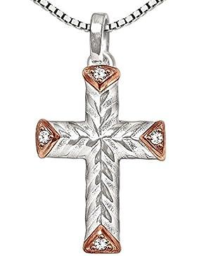 CLEVER SCHMUCK-SET Silberner Anhänger Kreuz 18 mm Kreuzenden rosé teilvergoldet mit 4 weißen Zirkonias und Kette...