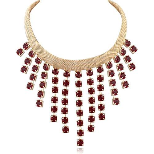 Beydodo Collar de Mujer Cadena Collar Aleación Forma Cuadrada Zirconia Borla Collar Para Mujer Color Rojo Oscuro