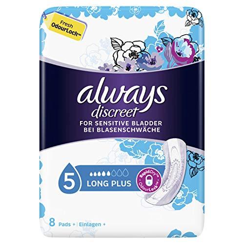 Always Discreet Inkontinenz-Einlagen+ Long Plus Bei Blasenschwäche 8, 5er Pack (5 x 8 Stück)