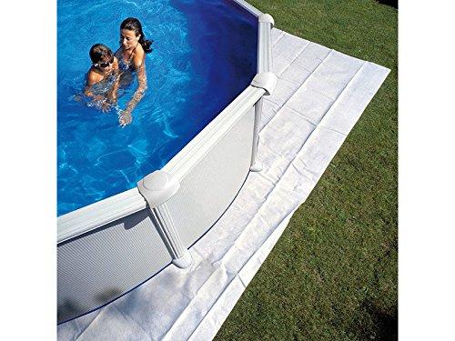 Gre MPR450 - Couverture de protection pour piscine ronde de 440 cm, 450 cm ou 460 cm de diamètre, couleur blanche