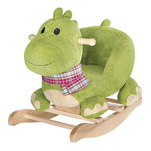 solini Schaukeltier Dino -Kinderspielzeug mit gepolsteter Lehne - trainiert die Motorik - grün