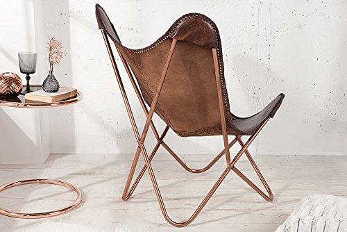 Echtleder Sessel Butterfly Echtes Leder Braun Eisengestell In Kupfer