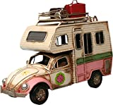 Auto Wohnmobil aus Metall rose mit Rahmen PKW Oldtimer Nostalgie Käfer