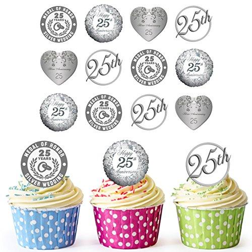 Silber Hochzeit Jahrestag Cupcake Topper/Kuchen Dekorationen (24Stück) ()