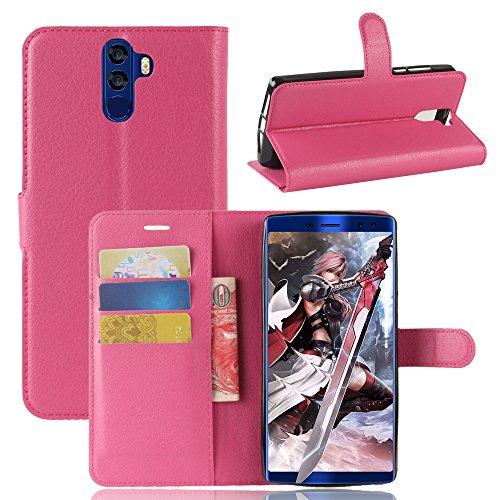 Kihying Hülle für Doogee BL12000 / Doogee BL12000 PRO Hülle Schutzhülle PU Leder Flip Wallet Fashion Geschäft HandyHülle (Rose rot - JFC05)