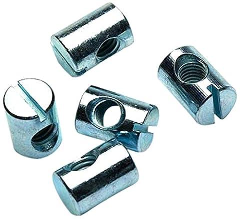 Bulk Hardware BH02119 Furniture Barrel Dowel Nuts M6 x 13mm (1/4 inch x 1/2 inch) Zinc Plated- Pack of