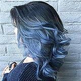 Gradiente parrucca di colore luminoso parte di argento blu sotto l'onda curl buy 1 invia 1